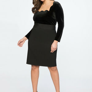 New Eloquii Black Velvet Scalloped dress 18